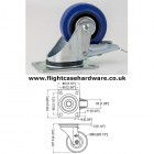 80mm Swivel Blue Castor with Brake