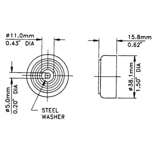 Small Tapered Rubber Foot with Steel Washer (PACK OF 4)